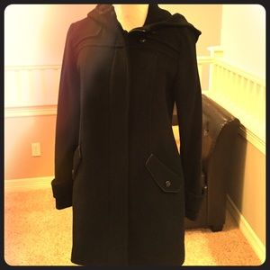 Black pea coat with hood and leather detail