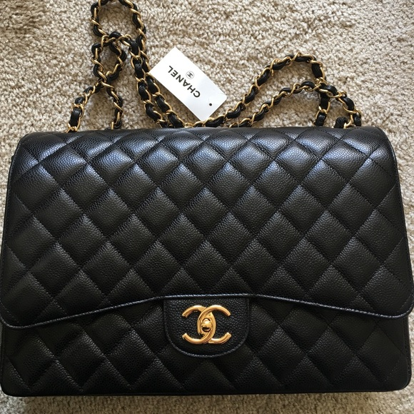 CHANEL Bags   New Classic Double Flap Maxi Caviar Gold   Poshmark 73978b2a85