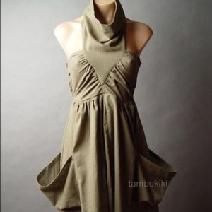 Slouchy Cowl Neck Army Green Linen Dress