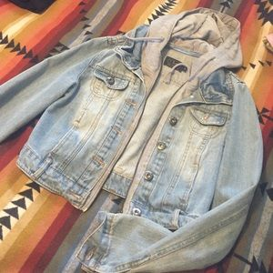 Jackets & Blazers - Cropped denim jacket with attached hoodie