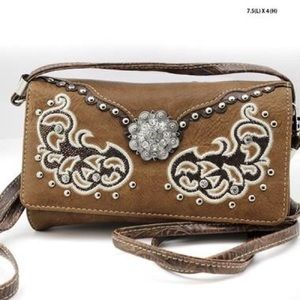 Brown leather bling purse.
