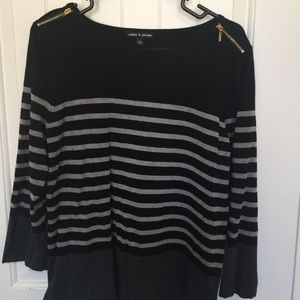 Cable & Gauge Sweaters - Black and Gray Striped Sweater