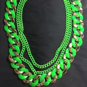 Jewelry - Cool Neon Green and Gold Necklace