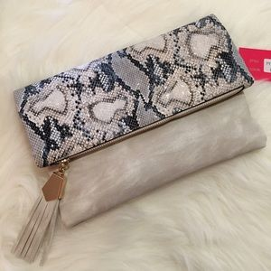 Boutique Handbags - Ivory Python & Tassel Flap Over Clutch