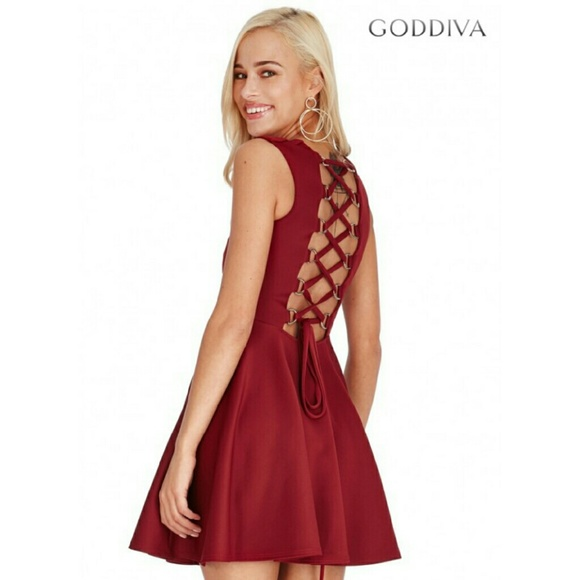Formal Open Back Lace-Up Skater Dress. NWT. goddiva 7e3b2d8df8caf