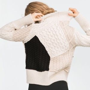 Zara patchwork cable knit sweater