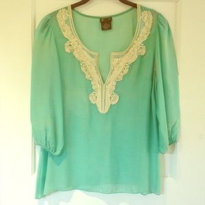 Sheer silk mint green blouse with neck detail