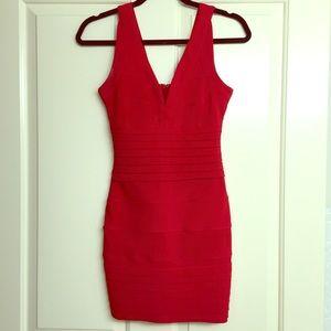 Red tobi bodycon dress