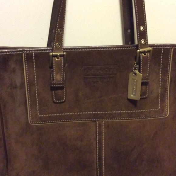 Coach Handbags - Coach dark brown suede tote bag a70bf401a3ce