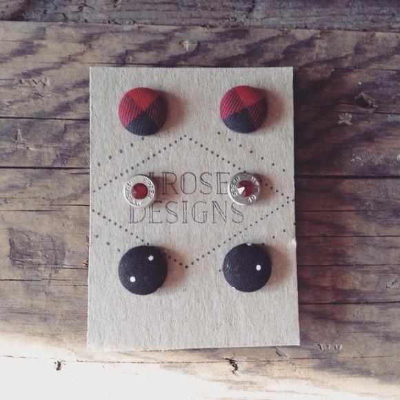 Handmade Jewelry - 3-Pair set of Handmade Earrings! 2 Button,1 Bullet