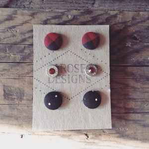 3-Pair set of Handmade Earrings! 2 Button,1 Bullet