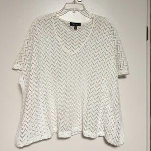 White layering v-neck top