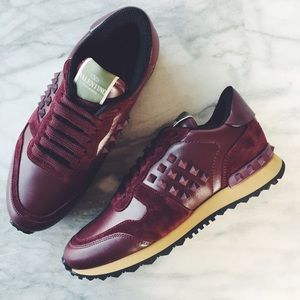 Valentino Shoes - Valentino Oxblood Rockrunner Sneakers