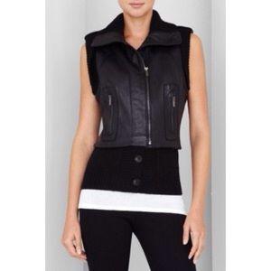 BCBGMaxAzria Jackets & Blazers - ✨HPx2✨ BCBGMAXAZRIA ribbed-trim leather vest