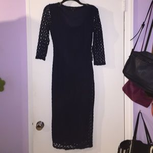Dresses & Skirts - Navy 3/4 sleeve midi dress crochet