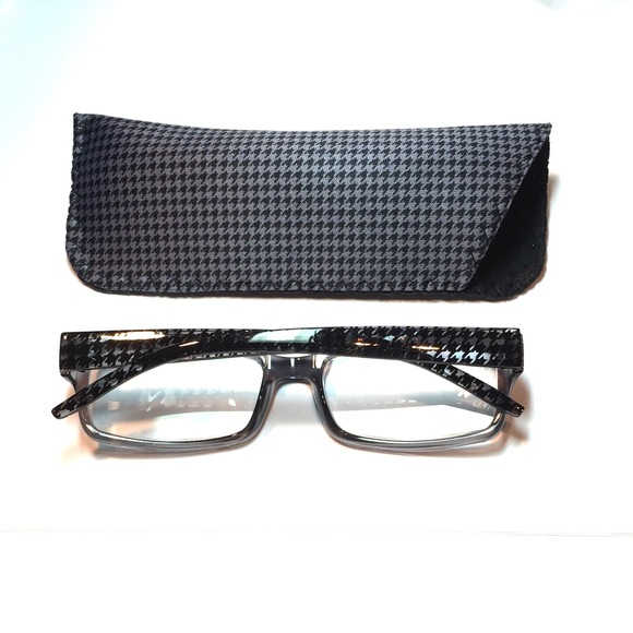 1 50 reading glasses grey houndstooth with 1 50 from