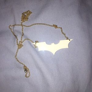 White Batman necklace with gold chain