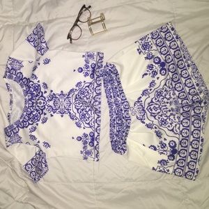 Tops - NWOT Floral Crop Top with Matching Shorts