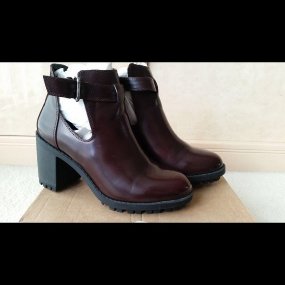 54f64ce3992 Zara Shoes | Burgundy Patent Leather Moto Buckle Boots | Poshmark