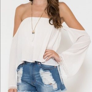 Tops - Crinkle Off The Shoulder Top (LAST MEDIUM!)