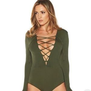 Tops - Olive Green Lace Up Bodysuit