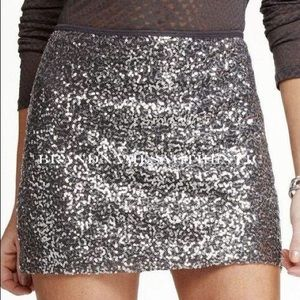 67% off Express Dresses & Skirts - Silver Sequin Mini Skirt from ...