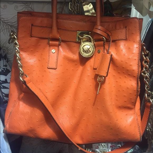 41a028c53649 On sale! 1 Hour only MK Orange Ostrich stamped bag.  M 56bc1ea8729a664fec009145