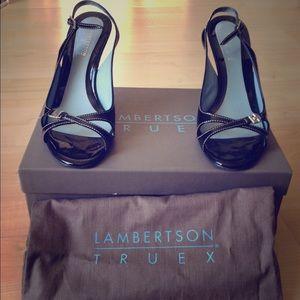 Lambertson Truex Black Patent Pumps