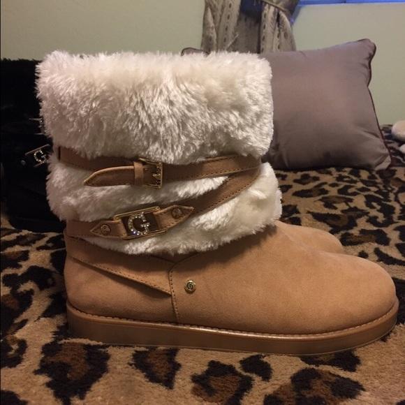 Guess Cream White Faux Fur Boots