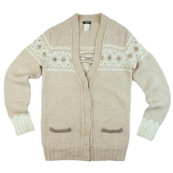90% off J. Crew Sweaters - JCrew Handknit Fair Isle Wool Cardigan ...