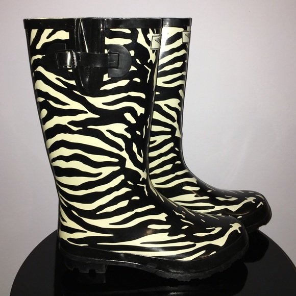 69% off FY Shoes - Forever Young Zebra Print Rain Boots size 10 ...