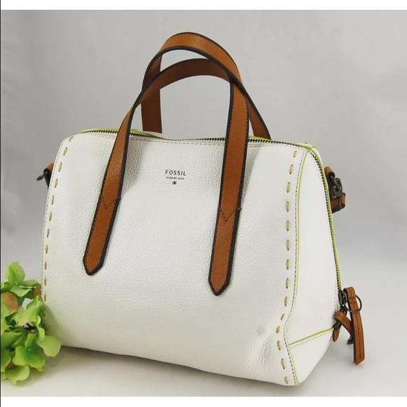 Fossil Handbags - Fossil Sydney Leather White Satchel Crossbody 811f84b6fdcd8
