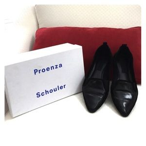 Proenza Schouler Shoes - Proenza Schouler Black Leather Suede Loafers Flats