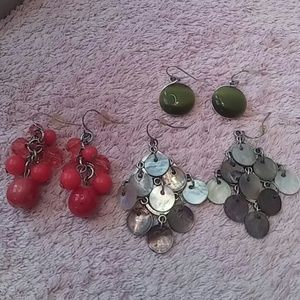 Assorted Jewelry - 3 Pair EARRINGS Gray, Green & Orange #9