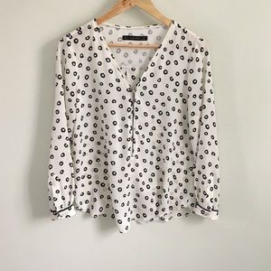 Zara Long Sleeve Printed Top With Front Zip