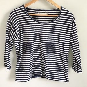 Classic navy and white Madewell striped tee