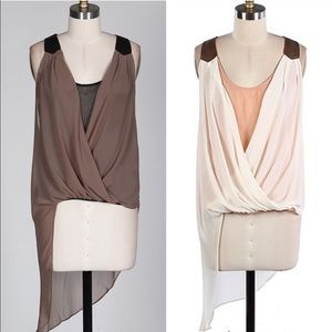 The JOANNA sleeveless top - MOCHA/IVORY