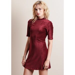 SALE❗️Wine Red Velvet Corduroy Cut Out Dress
