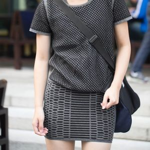 NWT Reversible Merino Cotton Gray Black Skirt