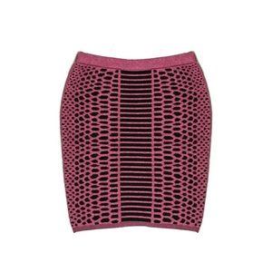 NWT Merino Wool Cotton Textured Red Black Skirt