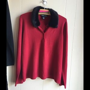 Norton McNaughton red sweater w/fur collar Lg