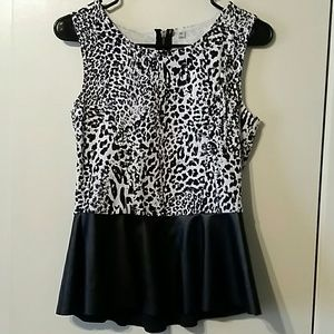 Animal print peplum top