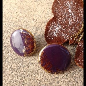 Vintage Jewelry - Ceramic Golden Crescent Moon Purple