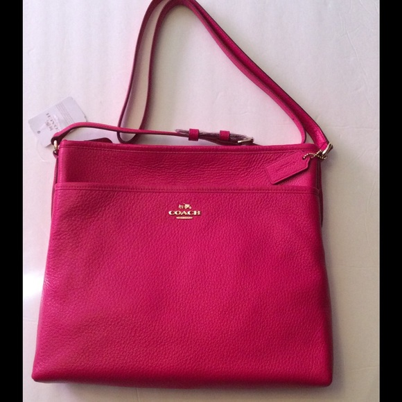 Coach Handbags - Coach Pebble Leather File Bag Ruby Pink Gold NWT