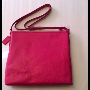 Coach Bags - Coach Pebble Leather File Bag Ruby Pink Gold NWT