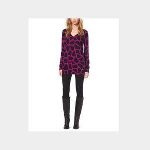 Michael Kors - Pink/Black Giraffe Print Sweater
