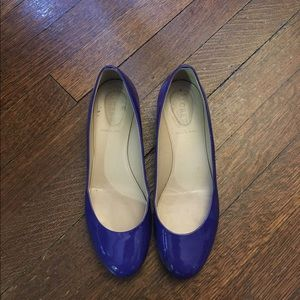 J.crew purple patent low heel pumps - barely used
