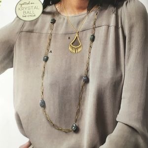 Gold with Green Agate Long Necklace