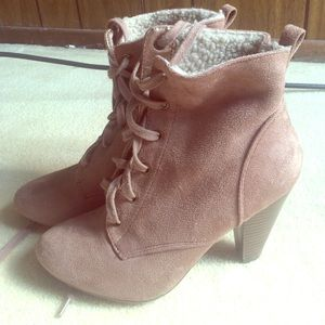 Forever 21 tan heeled lace up booties. Size 6