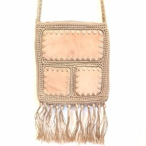 VINTAGE WOVEN CROSS BODY BAG WITH SUEDE & FRINGE!!